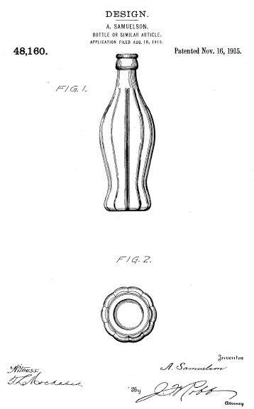 The iconic Coca-Cola bottle was patented 100 years ago today, on November 15, 1915. U.S. Patent Office detail from Wikipedia.