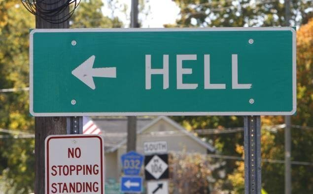 Hell, Mich. is seeing a price drop a year after its attempted sale fell through. Unofficial Mayor John Colone lowered his asking price from $999,666 to $900,000.  Photo by Go to Hell, Michigan/Facebook