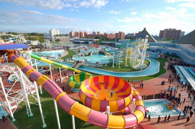 North Korea's Munsu Water Park, which opened east of Pyongyang in 2013. North Korean engineers were deployed to Russia's Far East to build another amusement facility, according to KCNA. File Photo by KCNA