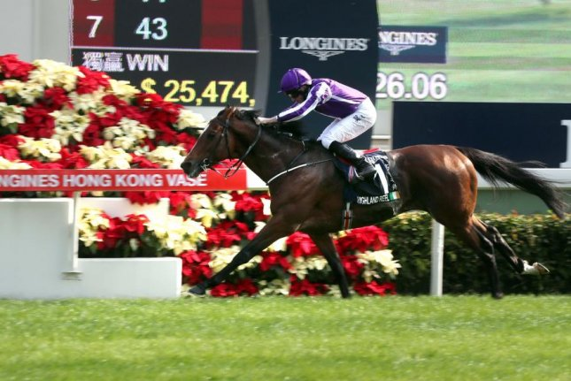 Highland Reel, under Ryan Moore, closes out his career with a victory Sunday, December 10, in the Longines Hong Kong Vase, giving trainer Aidan O'Brien his record 28th Group 1 score of the year. Photo courtesy of HKJC