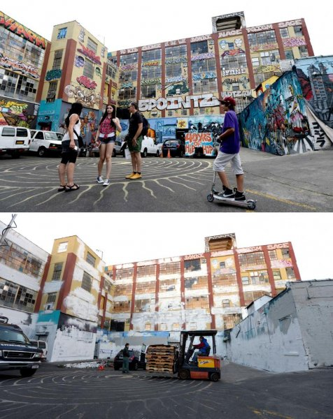 The top photo shows a section of 5 Pointz in August 2013, before the whitewashing. The bottom photo was taken on November 19, 2013, afterward. On Monday, a federal judge ruled building owner Jerry Wolkoff must pay the artists for destroying their artwork. File Photo by Justin Lane/EPA