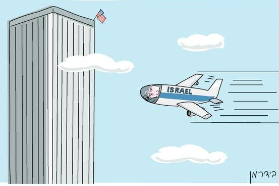Haaretz found itself the center of international controversy after publishing a political cartoon by artist Amos Biderman depicting Isreal's Prime Minister Benjamin Netanyahu piloting a plane into the World Trade Center. (Haaretz/Biderman)