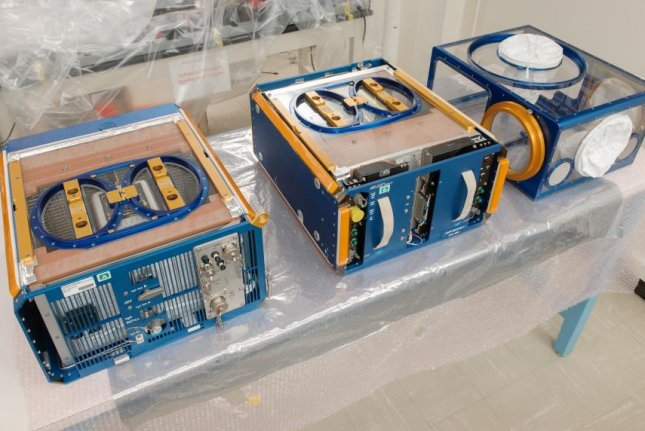 The lab mice will live and travel in these three specially designed modules. Photo by NASA/Ames Research Center/Dominic Hart
