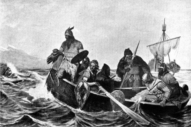 A painting depicting Norsemen in a ship. Oscar Wergeland/CC.