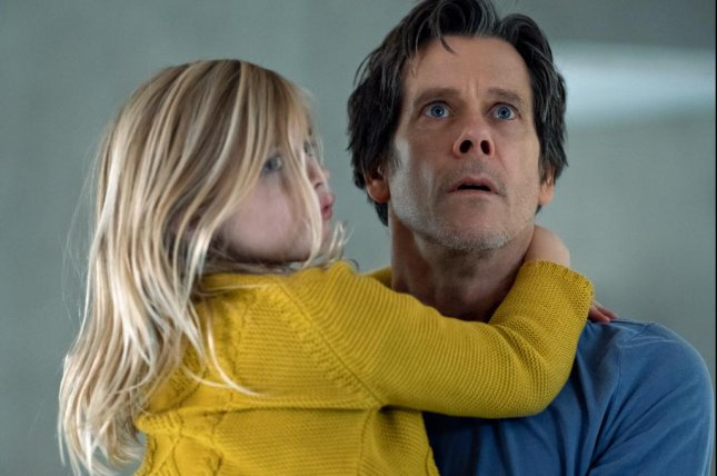 Theo (Kevin Bacon) tries to protect his daughter Ella (Avery Tiiu Essex) in You Should Have Left. Photo courtesy of Universal Pictures