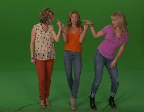 """The cast of Netflix's upcoming Full House revival Fuller House Candace Cameron-Bure, Jodie Sweetin, and Andrea Barber getting down to Watch Me (Whip/Nae Nae)."""" Photo courtesy of Netflix/YouTube"""