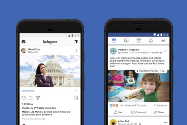 Facebook launched it's new political ad disclosure policy Thursday, which will place a tag on ads that informs users who paid for them and allow them to learn more information about the advertiser. Photo courtesy Facebook