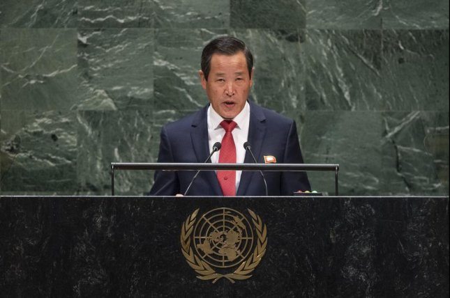 Kim Song, North Korea's ambassador to the United Nations, accused the United States and South Korea of not upholding past agreements in his Monday speech at the United Nations. Photo by Cia Pak/UN