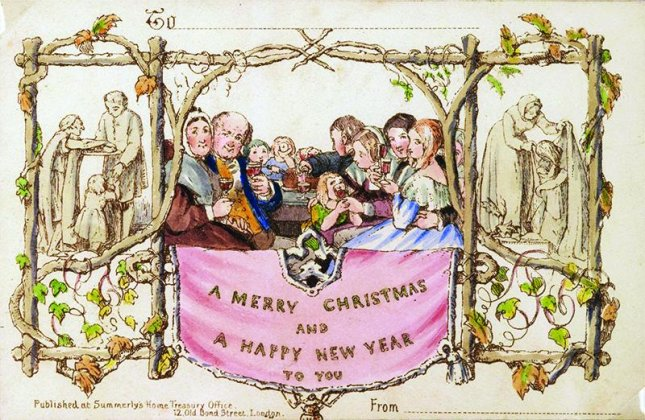 The world's first commercially-printed Christmas card, created by Henry Cole, John Calcott Horsley and Joseph Cundall in 1843, is being sold through a Boston-based book dealer for $25,000. Photo courtesy of Battledore Ltd.