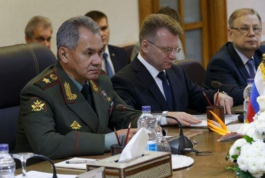 Russian Defense Minister Sergei Shioigu, L, met with Egyptian military leaders in Cairo on Thursday as Russia and Egypt moved toward a deal allowing Russian military planes to use Egyptian airbases and airspace. Image courtesy of Russian Ministry of Defense