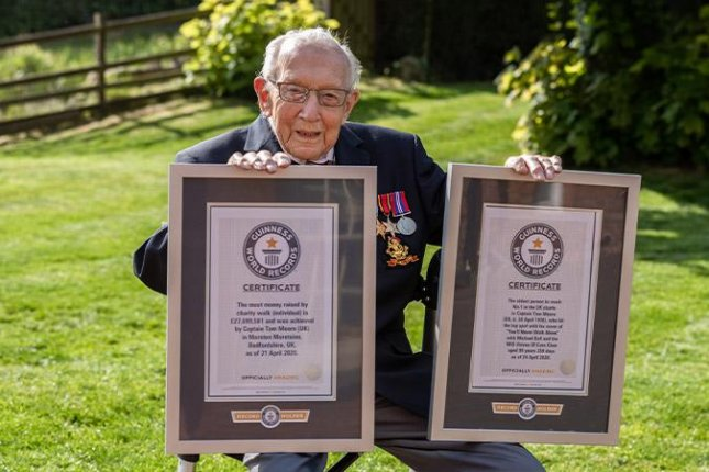 A 99-year-old British man broke two Guinness World Records in the month leading up to his 100th birthday. Photo courtesy of Guinness World Records