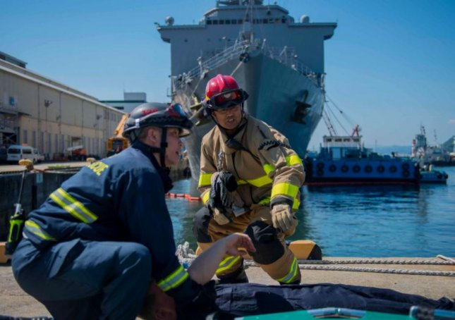 The U.S. Navy began Citadel Pacific 21 exercises on Monday, an annual antiterrorism drill to assess emergency response at bases in Japan, Korea, Hawaii and the Marianas Islands. Photo courtesy of U.S. Navy