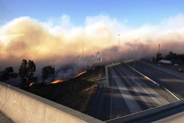 A 100-acre fire broke out in Riverside County on Thursday, one of six affected portions of Southern California. Photo courtesy the Riverside County Fire Department