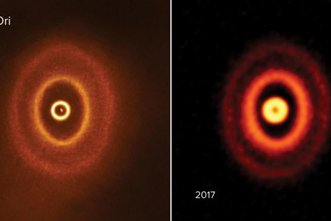 ALMA images showcase the planet-forming disk that surrounds the triple-star system GW Orionis. Photo by ALMA (ESO/NAOJ/NRAO), S. Kraus & J. Bi; NRAO/AUI/NSF, S. Dagnello