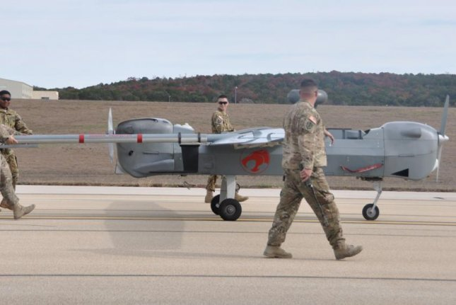 Soldiers from the 15th Military Intelligence Battalion with a Hunter unmanned aircraft system. Photo by Dave Conrad/U.S. Army