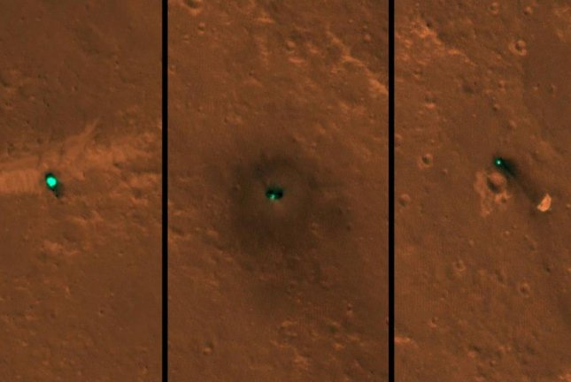 NASA's InSight lander, as well its discarded parachute and heat shield, can be seen in new photos captured by NASA's Mars Reconnaissance Orbiter. Photo NASA/JPL-Caltech/University of Arizona