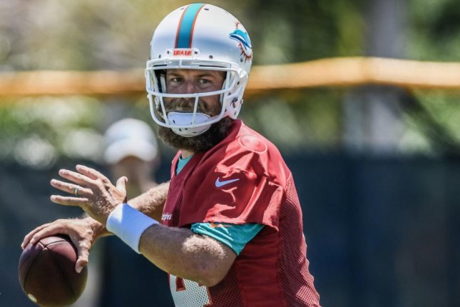 Miami Dolphins quarterback Ryan Fitzpatrick owns a 50-75-1 record as a starter during his 14-year NFL career. Photo courtesy of the Miami Dolphins