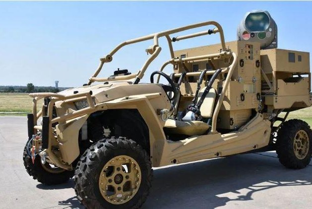 Raytheon Co. announced the delivery of its High Energy Laser Weapon System, seen here mounted on the back of an all-terrain vehicle, to the U.S. Air Force this week. Photo courtesy of Raytheon