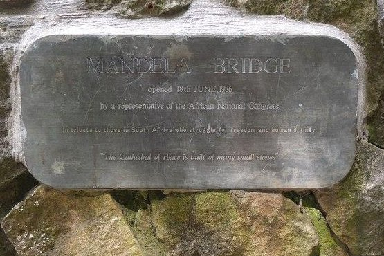 Iran announced on December 6, 2013 that it will name a street after deceased former South African President Nelson Mandela, joining countries across the world who have named landmarks after the anti-apartheid legend. Pictured is the Nelson Mandela bridge plaque in Almondell Country Park, Great Britain. (CC/Jim Barton)