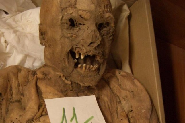 One of several dozen mummies recovered from a burial site in Hungary. The mummies' tissue has aided research into the genetic origins of colorectal cancer. Photo by PLOS ONE/Tel Aviv University