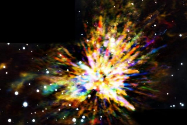 The remnants of a 500-year-old stellar explosion resembles a fireworks display. Photo by ALMA/NRAO