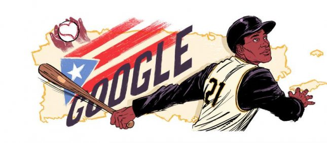 Google is celebrating famed baseball player and humanitarian Roberto Clemente with a new Doodle. Image courtesy of Google