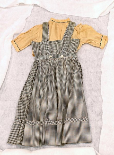 A dress worn by Judy Garland in 1939 film The Wizard of Oz was found at Catholic University in Washington, D.C., decades after the garment went missing at the school. Photo courtesy of Catholic University