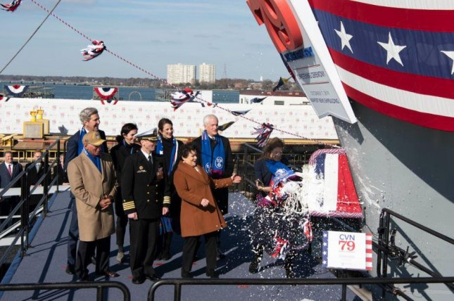 Caroline Kennedy christened the aircraft carrier John F. Kennedy on Saturday at Newport News, Va. Photo courtesy of U.S. Navy