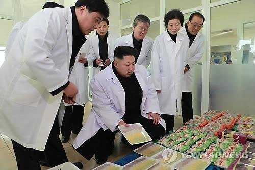 North Korean leader Kim Jong Un visited a factory specializing in food for North Korean athletes. Kim has prioritized increased food production in his economic policy. Photo by KCNA/Yonhap
