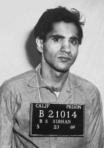 Sirhan Bishara Sirhan was hospitalized Saturday after being stabbed in a California prison. Sirhan, shown in a booking mug, was sentenced to life for killing U.S. Sen. Robert F. Kennedy, D-N.Y., in 1968. Photo courtesy California Department of Corrections photographic records.