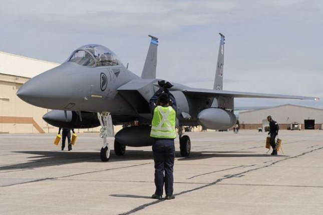 An F-15 fighter plane of the Republic of Singapore Air Force is parked at Mountain Home AFB, Ida., where a detachment of RSAF pilots train. Another training location, in the U.S. territory of Guam, was announced on Friday. Photo by A1C Renishia Richardson/U.S. Air Force/UPI