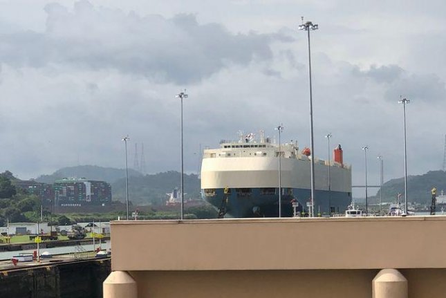 A ship is shown as it moves goods through the Panama Canal. Photo by Sue Nichols/MSU