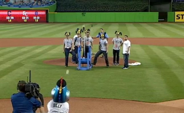 A team of students from Coral Park High School's Ram Tech engineering program launched the first pitch at a Miami Marlins baseball game from a catapult. The team won the right to launch the pitch when their catapult topped one built by a team from Ramblewood Middle School by pitching two strikes during S.T.E.A.M. Day at Marlins Park.