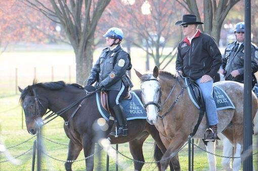 U.S. Secretary of the Interior Ryan Zinke (L) rides a horse on his first day on the job in Washington, D.C., on Thursday. He then signed two secretarial orders. Photo courtesy U.S. Department of Interior/Flickr