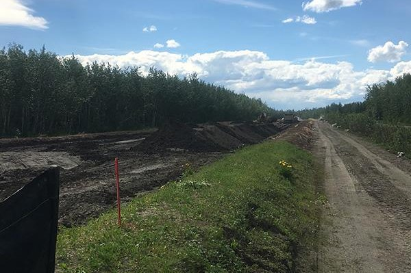 A stockpile of petroleum-contaminated dirt at the Galena landfarm is shown in summer 2017. Galena Air Force Station was turned over to a contractor in 1993, but the Air Force retains responsibility for toxin cleanup in the area. Photo courtesy of Alaska Division of Soil Prevention and Response