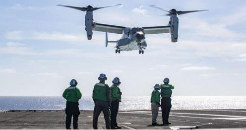 A CMV-22B Osprey helicopter -- four more of which have been ordered by the U.S. military -- takes off from the USS Carl Vinson in November during the aircraft's first operations aboard an aircraft carrier. Photo courtesy of U.S. Navy
