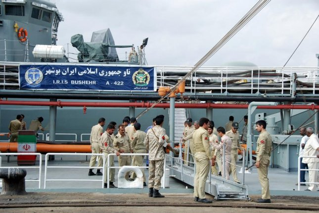 The Iranian navy began a series of war games Thursday in the Strait of Hormuz. File Photo by EPA-EFE