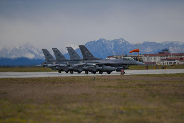 Four U.S. Air Force F-16 Fighting Falcons assigned to the 510th Fighter Squadron prepare to take off to support exercise INIOCHOS 21, Aviano Air Base, Italy, Tuesday. Photo by Ericka A. Woolever/U.S. Air Force