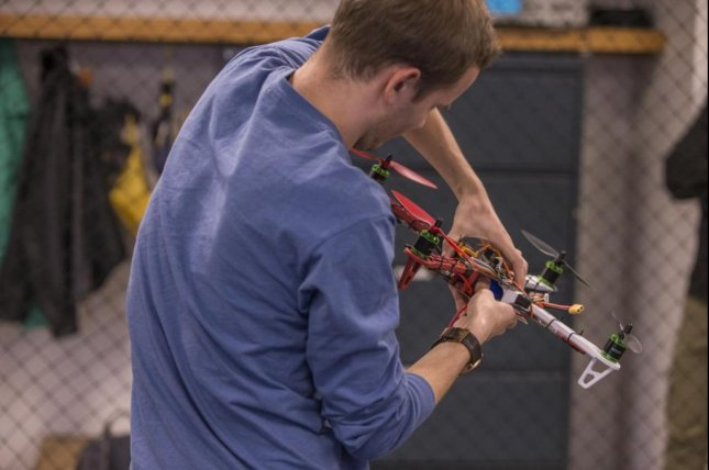 Researchers at the University of Cincinnati used a novel artificial intelligence system to train drones to land on moving platforms. Photo by UC Creative Services/Andrew Higley