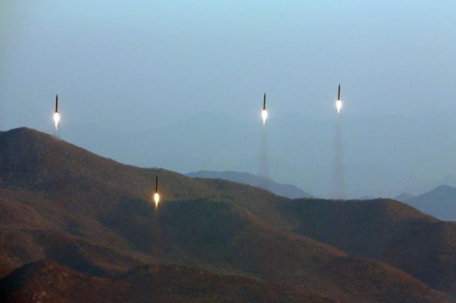 An undated photo made available by the North Korean Central News Agency KCNA March 7 shows four projectiles during a ballistic rocket launching drill of Hwasong artillery units of the Strategic Force of the Korean People's Army. Pyongyang's belligerent rhetoric has been followed by frequent missile tests, and, according to experts, an increased likelihood of a nuclear weapons test. File Photo by KCNA/EPA
