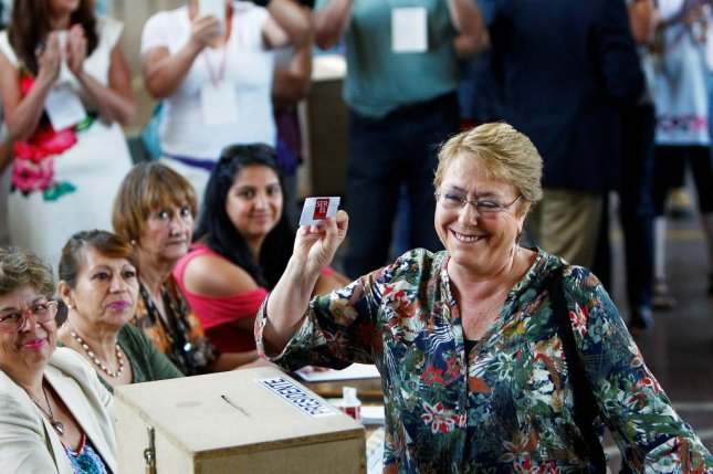 Former Chilean President Michele Bachelet casts a vote during the presidential elections in Santiago, Chile, on December 17, 2017. Wednesday, she was named U.N. High Commissioner for Human Rights. File Photo by Esteban Garay/EPA-EFE