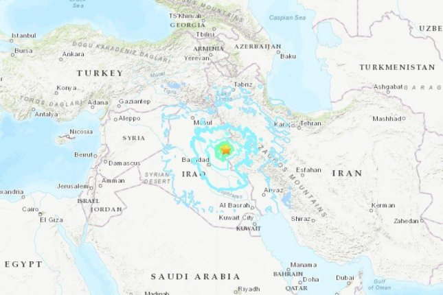 Western Iran near the border with Iraq was hit by a 6.3-magnitude earthquake on Sunday, the U.S. Geological Survey reported. Map courtesy USGA
