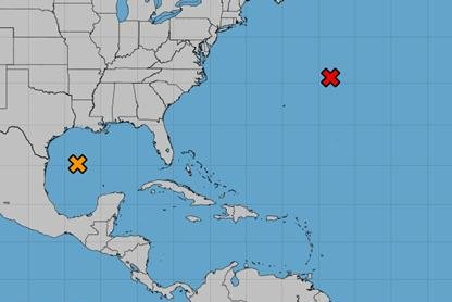 Two storms presently in the Atlantic basin could become the first named storm of 2021, forecasters said Friday. Image courtesy National Hurricane Center