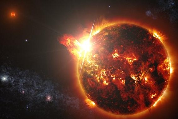 An artist's rendering depicts what one of the two DG CVn red dwarf stars might look like as it releases a large solar flare. (NASA's Goddard Space Flight Center/S. Wiessinger)