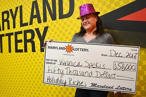 A Maryland woman won $50,000 from a scratch-off lottery ticket given to her as an end-of-year tip by a customer. Photo courtesy of the Maryland Lottery