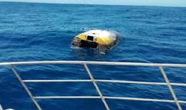 Wild Eyes, the yacht abandoned by Abby Sunderland in her attempt to circumnavigate the globe in 2010, was found floating off the coast of Australia eight years later. Photo courtesy SA Police News/Facebook