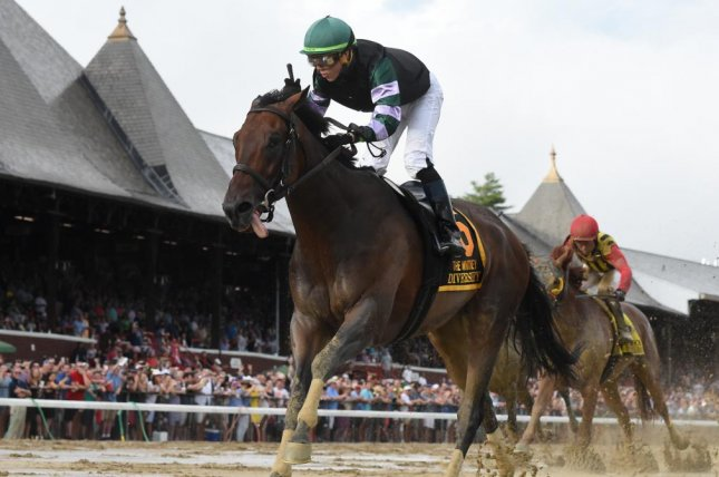 Diversify is all alone after a front-running victory in Saturday's Grade I Whitney at Saratoga. Photo courtesy of NYRA