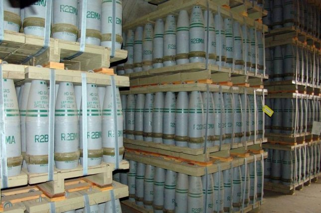 155mm artillery shells containing mustard gas at a U.S. Military storage facility. U.S. Army photo.
