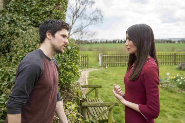 Photo of Humans co-stars Colin Morgan and Gemma Chan, courtesy of AMC