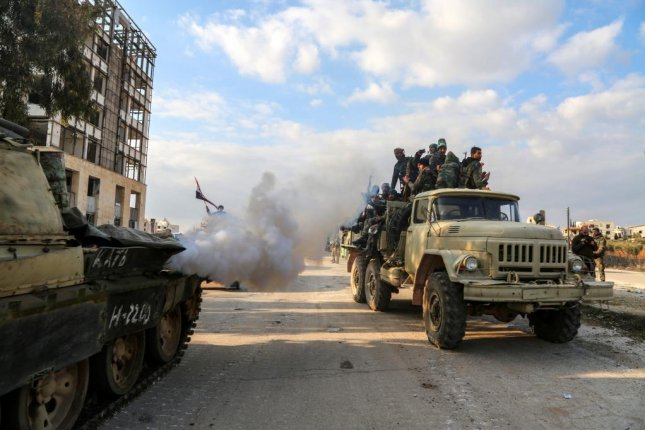 Syrian army units advance to the Aleppo Ghazi Aintab International Highway and the northern countryside of Aleppo, Syria, Monday. A DoD audit released Tuesday said the U.S has failed to account for nearly $715 million in weapons sold to Syria to fight ISIS. Photo by Hajj Ahmad/EPA-EFE